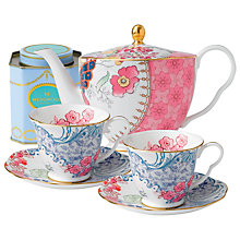 Buy Wedgwood Butterfly Bloom Teapot with Blue Cup and Saucer Set + FREE matching Cup and Saucer Set and Tea Caddy Online at johnlewis.com