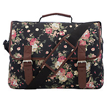 Buy John Lewis Rose Print Satchel, Black/Multi Online at johnlewis.com