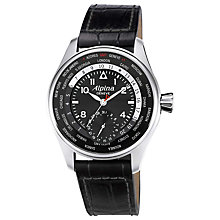 Buy Alpina AL-718B4S6 Men's Aviation Startimer Pilot Manufacture Automatic Leather Strap Watch, Black Online at johnlewis.com