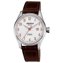 Buy Alpina AL-525SCR4S6 Men's Aviation Startimer Classics Automatic Leather Strap Watch, Brown Online at johnlewis.com