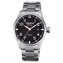 Buy Alpina AL-525B4S6B Men's Aviation Startimer Pilot Automatic Stainless Steel Watch Online at johnlewis.com