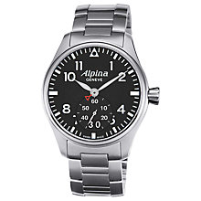Buy Alpina AL-280B4S6B Men's Aviation Startimer Pilot Stainless Steel Bracelet Strap Watch Online at johnlewis.com