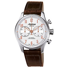 Buy Alpina AL-860SCR4S6 Men's Aviation Startimer Classics Automatic Chronograph Leather Strap Watch, Brown Online at johnlewis.com