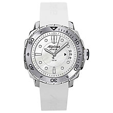 Buy Alpina AL-240LSD3V6 Men's Extreme Diver Silicone Strap Watch, White Online at johnlewis.com