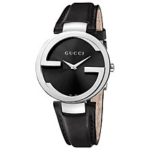 Buy Gucci YA133301 Women's Interlocking G Leather Strap Watch, Black Online at johnlewis.com