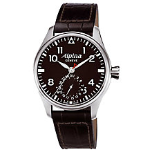 Buy Alpina AL-710B4S6 Men's Aviation Startimer Pilot Automatic Leather Strap Watch, Brown Online at johnlewis.com