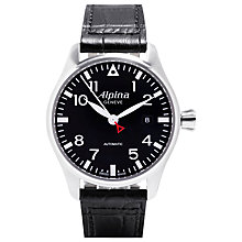 Buy Alpina AL-525B3S6 Men's Aviation Startimer Pilot Automatic Leather Strap Watch Online at johnlewis.com