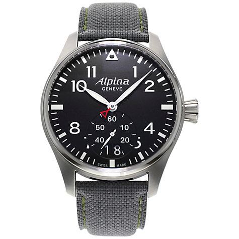 Buy Alpina AL-280B4S6 Men's Aviation Startimer Pilot Leather Strap Watch, Black Online at johnlewis.com