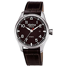 Buy Alpina AL-525B4S6 Men's Aviation Startimer Pilot Automatic Leather Strap Watch, Brown Online at johnlewis.com