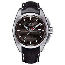 Buy Alpina AL-525B4RC6 Men's Club Automatic Leather Strap Watch, Black Online at johnlewis.com