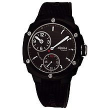 Buy Alpina AL-650LBBB5FBAE6 Men's Adventure Avalance Extreme Regulator Rubber Strap Watch Online at johnlewis.com