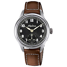 Buy Alpina AL-435B4SH6 Men's Aviation Heritage Pilot Leather Strap Watch, Brown Online at johnlewis.com