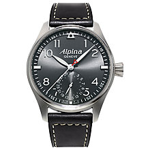 Buy Alpina AL-710G4S6 Men's Aviation Startimer Pilot Automatic Leather Strap Watch, Black Online at johnlewis.com