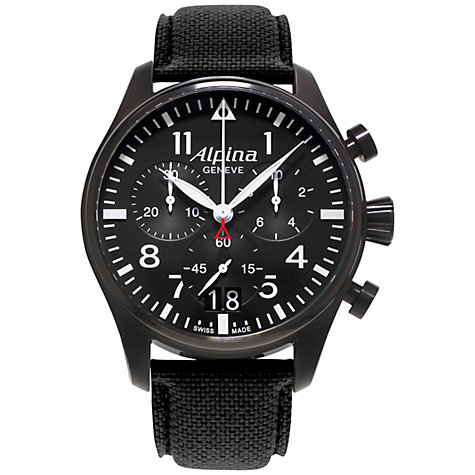 Buy Alpina AL-372B4FBS6 Men's Aviation Startimer Pilot Chronograph Big Date Fabric Strap Watch, Black Online at johnlewis.com