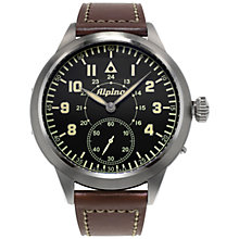 Buy Alpina AL-435LB4SH6 Men's Aviation Pilot Heritage Manual Mechanical Watch, Brown Online at johnlewis.com