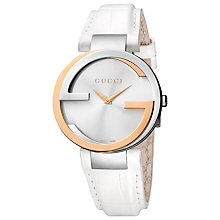 Buy Gucci YA133303 Women's Interlocking G Leather Strap Watch, Gold Online at johnlewis.com