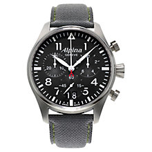 Buy Alpina AL-372B4S6 Men's Startimer Pilot Big Date Chronograph Watch, Black Online at johnlewis.com