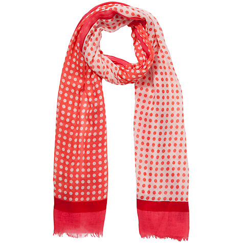 Buy John Lewis Double Sided Spot Scarf, Coral Online at johnlewis.com