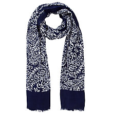 Buy John Lewis Painted Paisley Viscose Bamboo Scarf, Navy Online at johnlewis.com