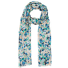 Buy John Lewis Blurred Poppy Floral Print Scarf, Blue Online at johnlewis.com