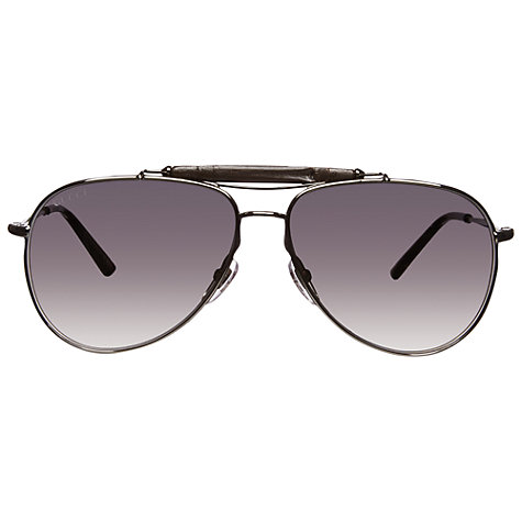Buy Gucci GG2235/S J5GOH Bamboo & Metal Frame Aviator Sunglasses, Silver Online at johnlewis.com