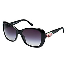 Buy Dolce & Gabbana DG4184 501/8G Pink Rose Detail Square Frame Sunglasses, Black Online at johnlewis.com