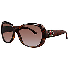 Buy Gucci GG3644/S Oversized Polarised Sunglasses, Havana Online at johnlewis.com