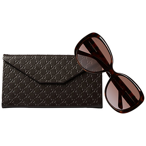 Buy Gucci 3644/S Oversized Frame Acetate Polarised Sunglasses, Havana Online at johnlewis.com