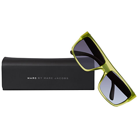 Buy Marc by Marc Jacobs MMJ096/N/S Rectangular Frame Acetate Sunglasses, Green/Grey Online at johnlewis.com