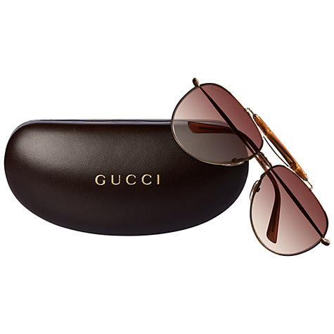 Buy Gucci GG 2235/S J5GOH Aviator Sunglasses, Gold Online at johnlewis.com