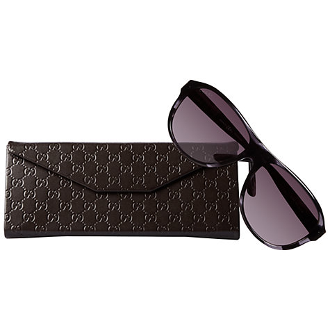 Buy Gucci GG 1051/S WR7EU Rectangular Sunglasses, Black/Havana Online at johnlewis.com