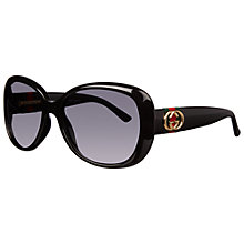 Buy Gucci 3644/S Oversized Framed Polarised Sunglasses, Black Online at johnlewis.com