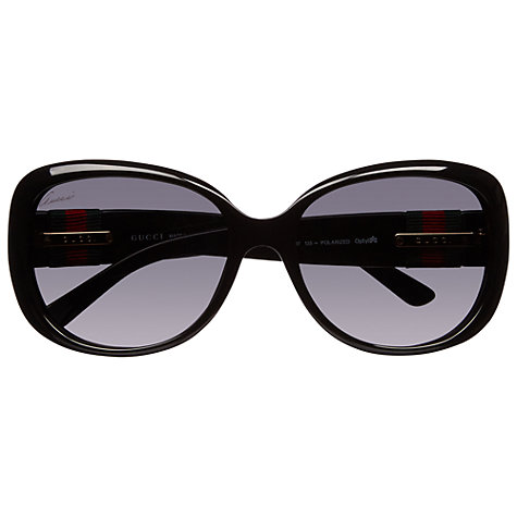 Buy Gucci 3644/S Oversized Frame Acetate Polarised Sunglasses, Black Online at johnlewis.com