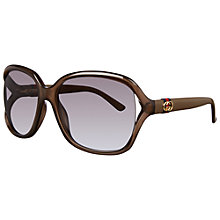 Buy Gucci GG3646/S Floating Lens Square Frame Acetate Sunglasses, Olive Online at johnlewis.com