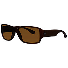 Buy Ray-Ban RB4199 714/83 Rectangular Polarised Acetate Frame Sunglasses, Shiny Brown Online at johnlewis.com