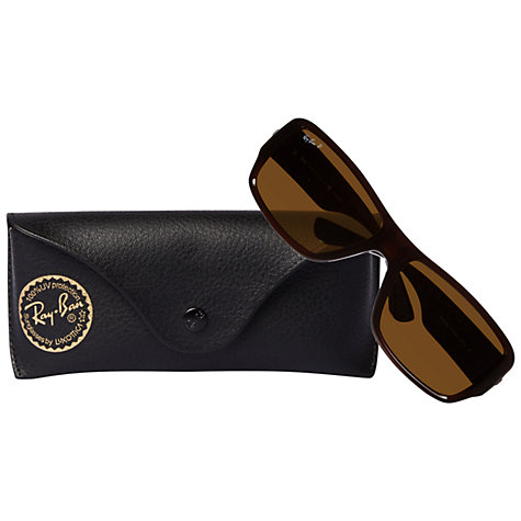 Buy Ray-Ban RB4199 714/83 Rectangular Polarised Sunglasses, Shiny Brown Online at johnlewis.com