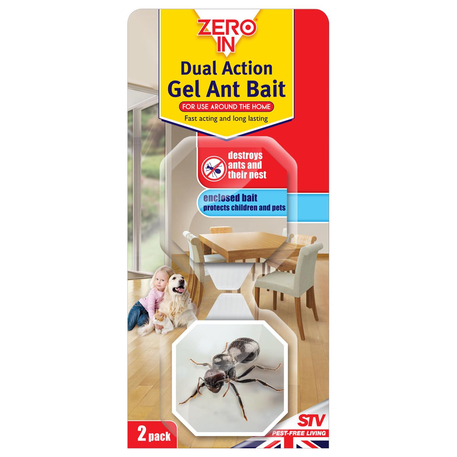 Zeroin Dual Action Ant Bait Gel, Pack of 2