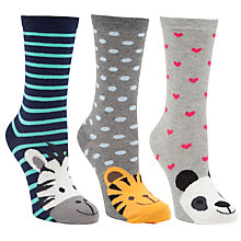 Buy John Lewis Novelty Wild Animals Ankle Socks, Pack of 3, Multi Online at johnlewis.com