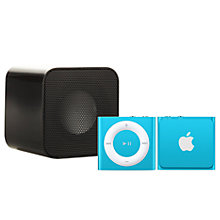 Buy Apple iPod shuffle, 2GB, Blue with Juice Sound Square Portable Speaker, Black Online at johnlewis.com