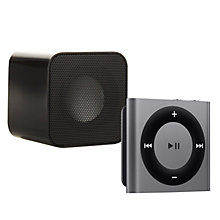 Buy Apple iPod shuffle, 2GB, Space Grey with Juice Sound Square Portable Speaker, Black Online at johnlewis.com