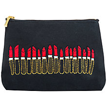 Buy Sew Lomax Embroidered Lipstick Cosmetics Pouch, Black Online at johnlewis.com