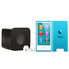 Buy Apple iPod nano,16GB, Blue with Juice Sound Square Portable Speaker, Black Online at johnlewis.com