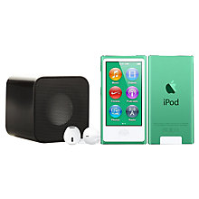 Buy Apple iPod nano,16GB, Green with Juice Sound Square Portable Speaker, Black Online at johnlewis.com