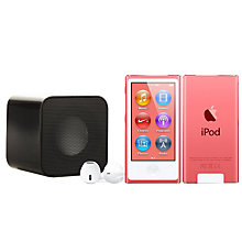 Buy Apple iPod nano,16GB, Pink with Juice Sound Square Portable Speaker, Black Online at johnlewis.com