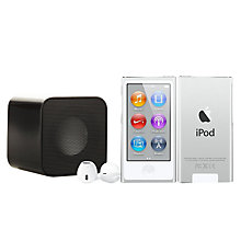 Buy Apple iPod nano,16GB, Silver with Juice Sound Square Portable Speaker, Black Online at johnlewis.com