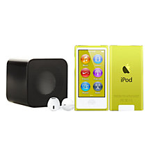 Buy Apple iPod nano,16GB, Yellow with Juice Sound Square Portable Speaker, Black Online at johnlewis.com