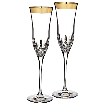 Waterford Lismore Essence Gold Flutes, Set of 2