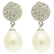 Buy Lido Pearls Oval Pearl Round Swirled Cubic Zirconia Top Stud Earrings, White Online at johnlewis.com