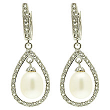 Buy Lido Pearls Large Oval Pearl Drop Cubic Zirconia Bar Setting Earrings, White Online at johnlewis.com