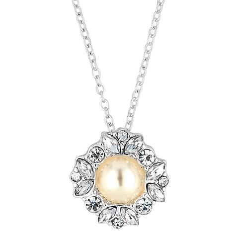 Buy Alan Hannah Freshwater Pearl Crystal Flower Pendant Necklace Online at johnlewis.com